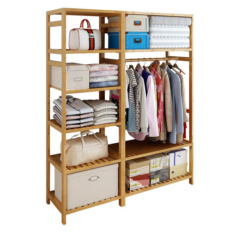 简易衣帽架卧室组合衣架落地衣柜简约现代经济型挂衣架子实木收纳