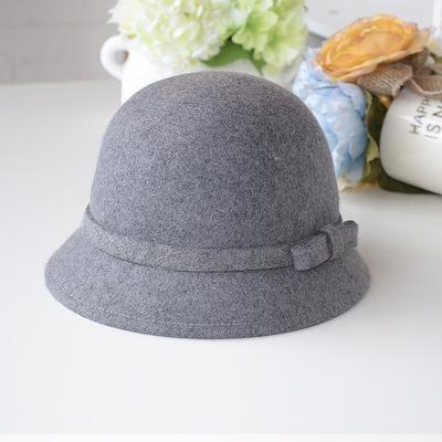 韩国纯羊毛呢小礼帽春秋冬季欧美复古蝴蝶结圆顶爵士渔夫盆帽子女