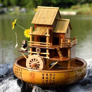 竹子假山流水喷泉风水轮招财鱼缸摆件客厅装饰品室内桌面加湿器