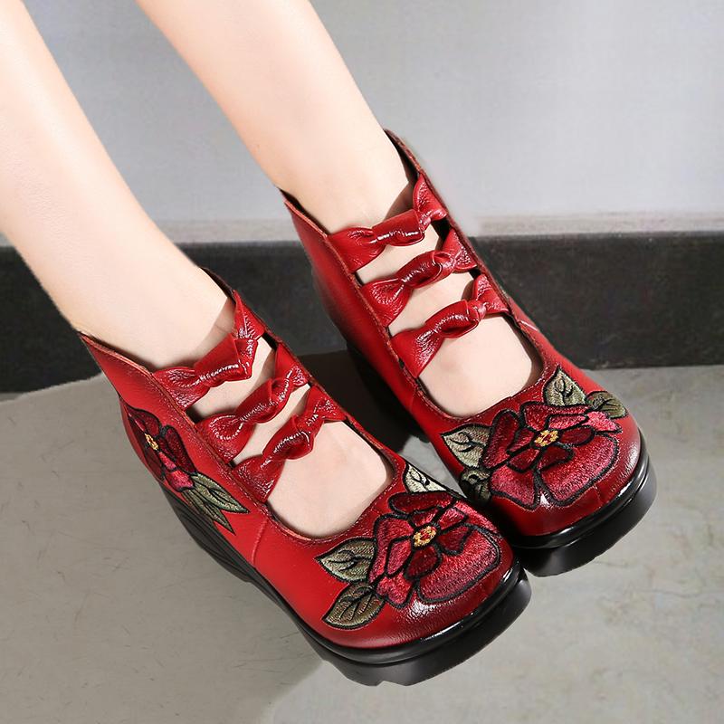 蝴蝶结真皮坡跟女靴