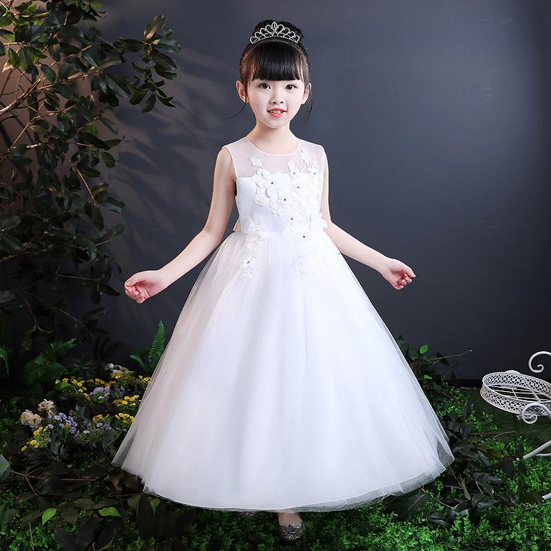 儿童礼服公主裙花童女童婚纱裙钢琴演出服主持人中国风晚礼服春夏