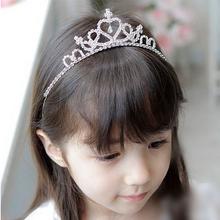 日韩式儿童水钻皇冠公主头饰新娘结婚水晶发箍宝宝女童生日发夹