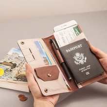 Customized Vintage certificate bag, soft-headed cowhide simple card bag, travel passport folder, genuine leather men's and women's Wallet