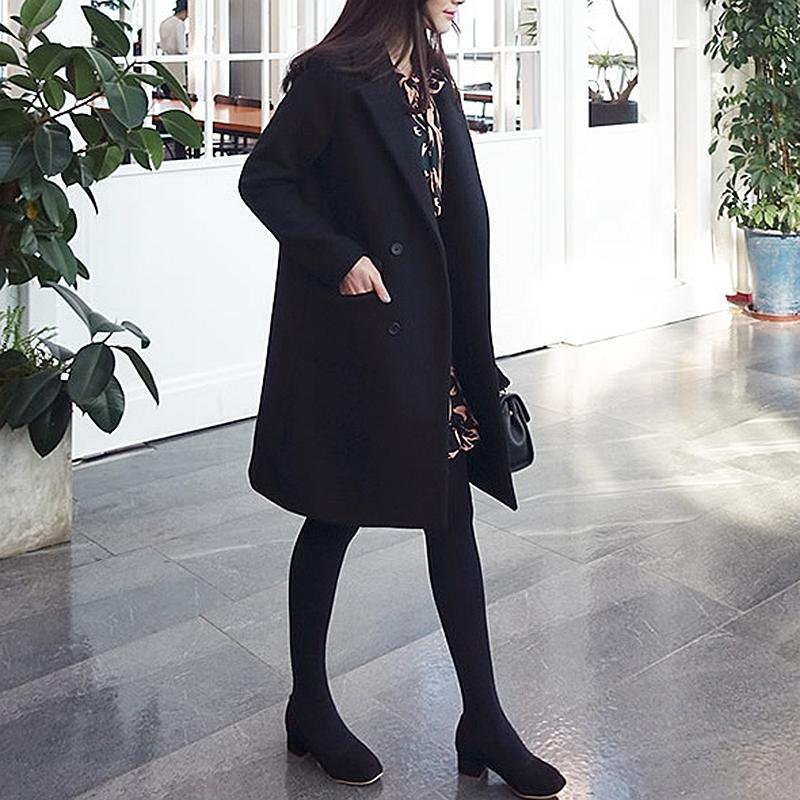 黑色妮子大衣女 显瘦中长款 西装 修身 领毛呢外套女韩版 2017冬季新款