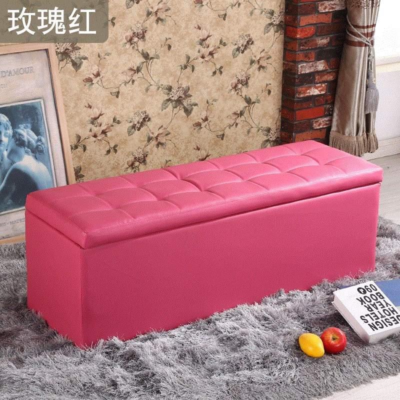 时尚白色小号皮墩蹲皮凳子穿试换鞋凳四方矮长条沙发收纳储物凳櫈