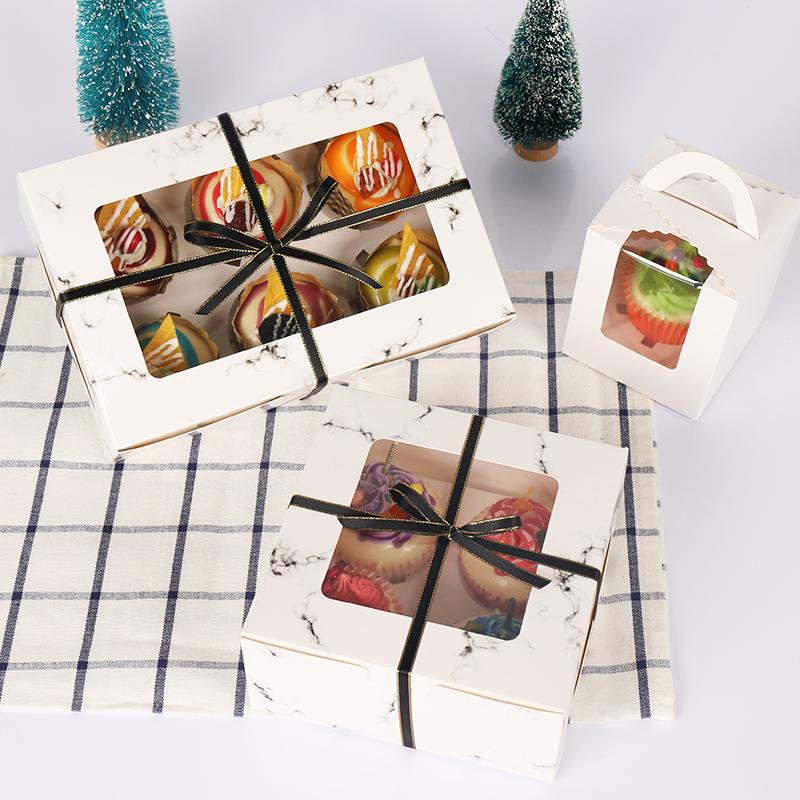 甜品 纸杯蛋糕打包盒子4 6 12粒慕斯木糠杯布丁马芬杯 蛋挞包装盒