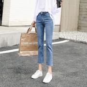 高腰小个子七分牛仔裤女八分直筒裤2019新款薄款夏季宽松显瘦百搭