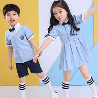 New kindergarten clothing summer dress British wind primary school uniform summer short sleeve class service graduation season clothing photo