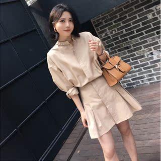 韩国女装衬衫连衣裙中长款2019春秋新款韩版收腰长袖衬衣A字裙子