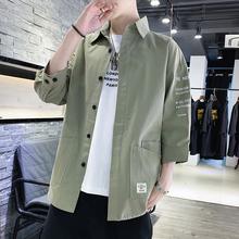牛仔衬衣宽松休闲外套潮 潮流工装 秋韩版 帅气七分短袖 长袖 衬衫 男士图片