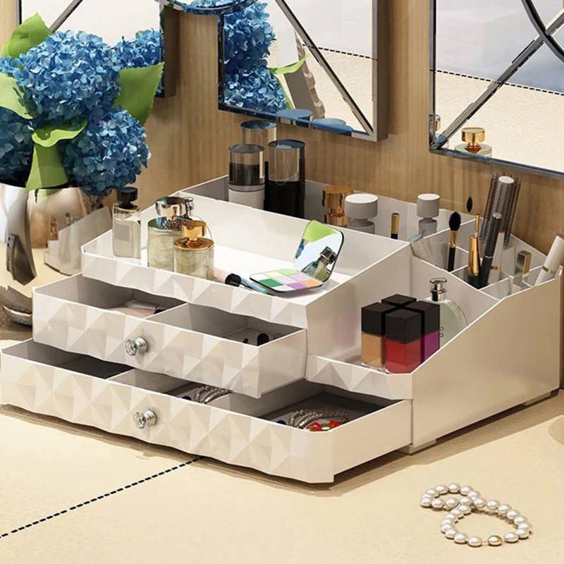 抽屉式化妆品收纳盒大号整理护肤桌面梳妆台塑料口红置物架