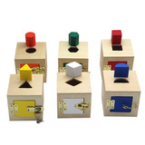 Kindergarten Monson early teaching shape paired building block box open lock box toy puzzle wood enlightenment building block teaching toys