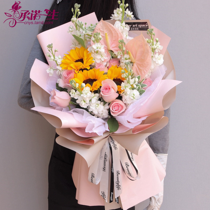 长沙市玫瑰满天星生日韩式花束鲜花同城速递送开福区长沙县宁乡县