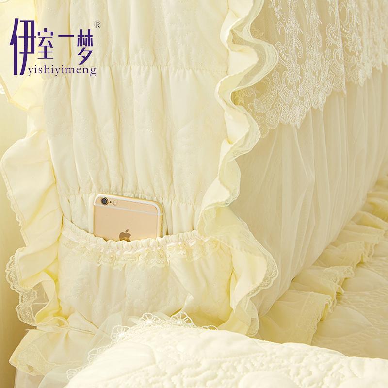 韩式蕾丝布艺夹棉床头套床头罩防尘罩公主风套子加厚可拆洗1.8米