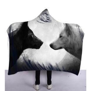 2019火爆連帽毯斗篷魔法帽雙層披毯動物頭像3D數碼印花空調披風