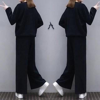 春夏秋季新款大码长袖女装套装版宽松阔腿长裤学生休闲运动纯色