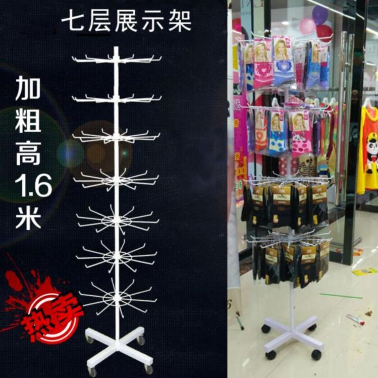 多功能小饰品儿童内衣内裤袜子展示架落地立式超市帽架上旋转柜台