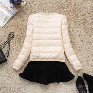 2018冬装新款韩版时尚短款珍珠领羽绒服轻薄圆领修身女装外套潮