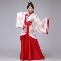 汉服女超仙古装大袖衫18-20-25-40岁成人礼红色大码胖mm200斤襦裙