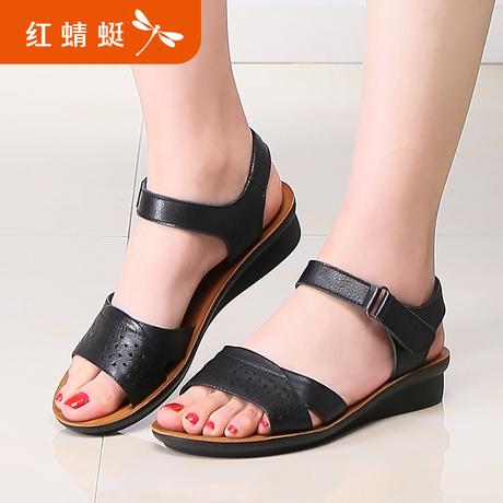 红蜻蜓2019夏季新款凉鞋坡跟防滑平底中老年时尚软底妈妈凉鞋真皮商品大图