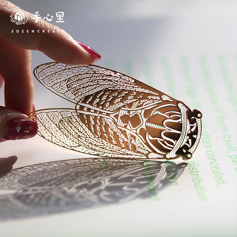 手心里夏蝉一鸣惊人金属书签,教师节中国风创意定制礼物