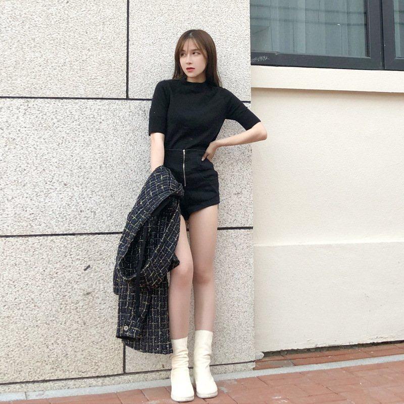 ALU 黑色修身半高领针袖打底上衣织衫女早秋纯色百搭短