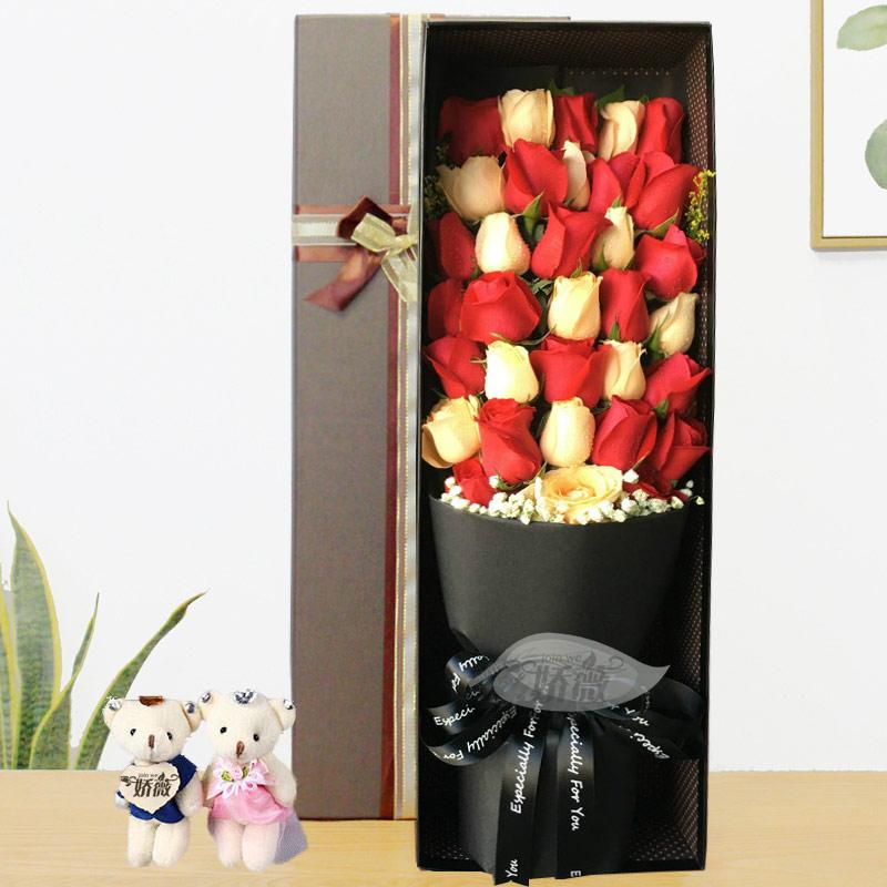 适配自贡鲜花同城速递花店送花配送红玫瑰花束礼盒富顺订花生日送