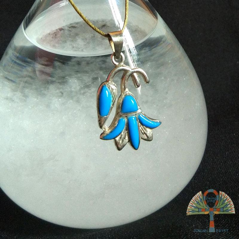 E01复古埃及特色进口手工银饰女圣花莲彩色镶嵌项链吊坠包邮