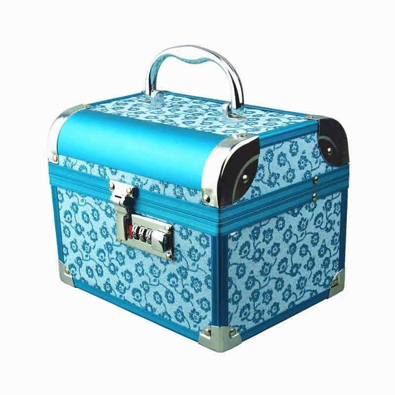 化妆箱盒大号密码带锁手提 新娘化妆首饰盒 中式结婚首饰盒 红色