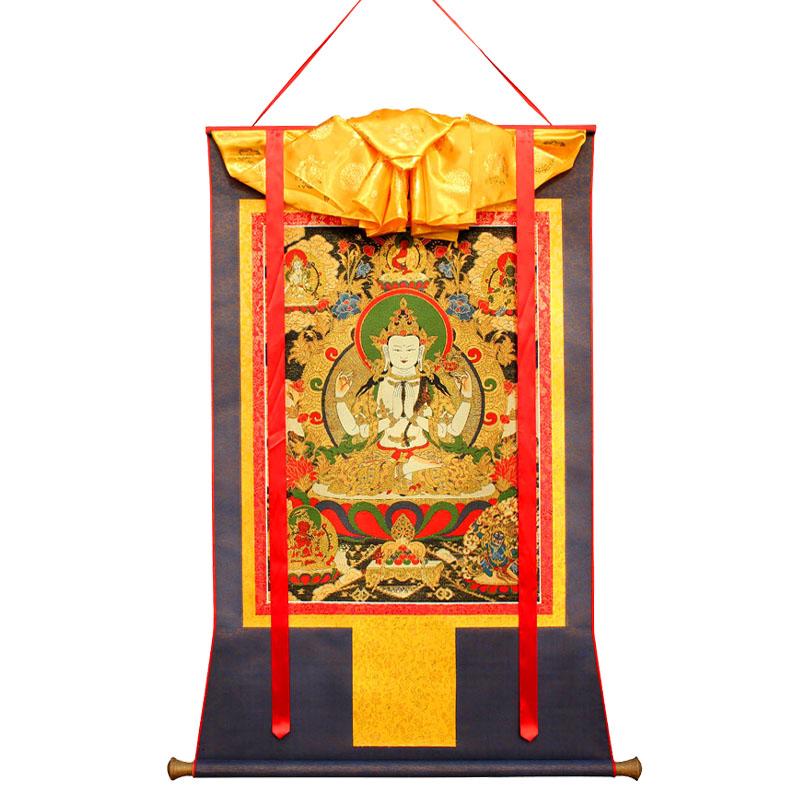 四臂观音唐卡画像客厅绘西藏式密宗佛像挂画玄关尼泊尔刺绣镇宅手