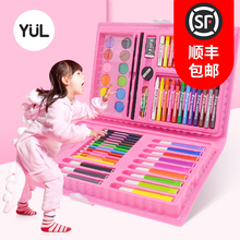 Yuliang 108 Children's Painting Brush Gift Box Painting Tools Pupil's Watercolor Brush Painting Set Art Learning Supplies Birthday Gift 61 Kindergarten Safe, Non-toxic and Washable