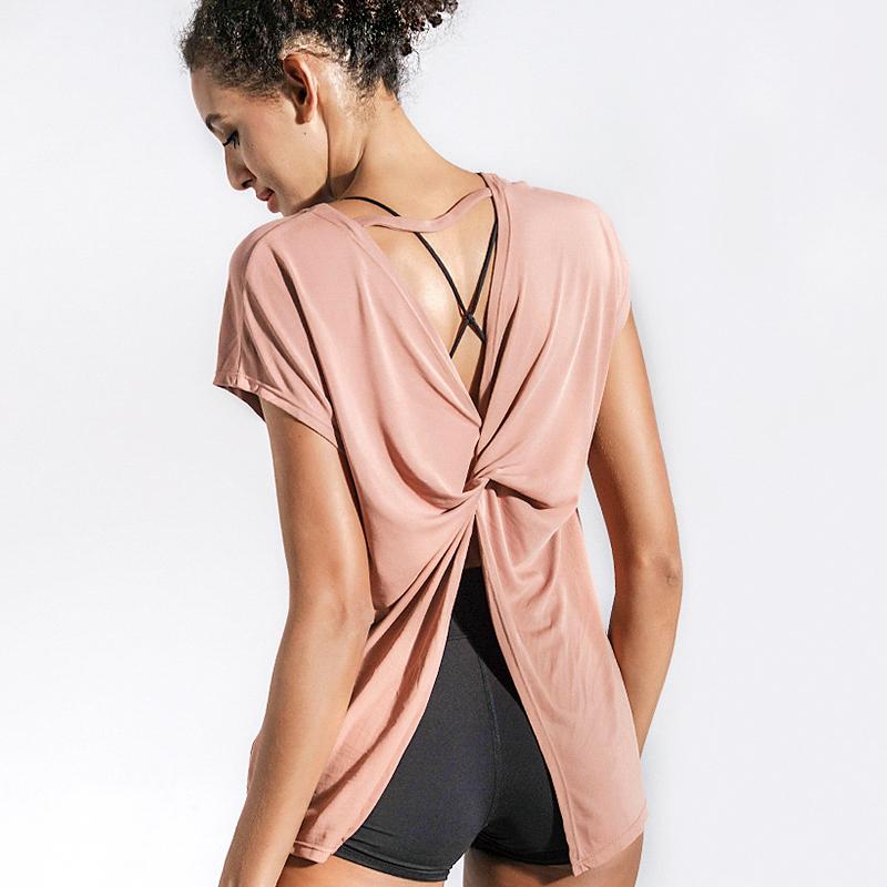 La Nikar 运动t恤女速干宽松美背健身上衣性感瑜伽罩衫夏天开叉