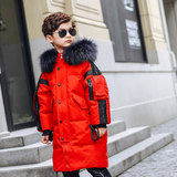 Children's mid-length hit-colored down jacket Korean version of the big hair collar plus thick casual anti-season promotion 2019 new male