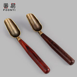 Ebony tea spoon teaspoon long handle single copper tea shovel set tea Japanese Kung Fu tea set tea ceremony accessories