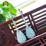 Juno natural jade water drop earringlength length jade earrings A cargo 925 silver anti-allergy female literary and artistic wind earrings