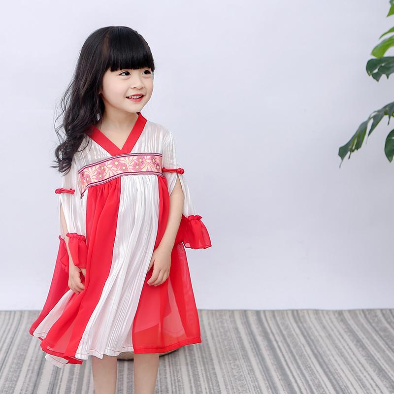夏季新款小兔桔子旗袍连衣裙裙民族风