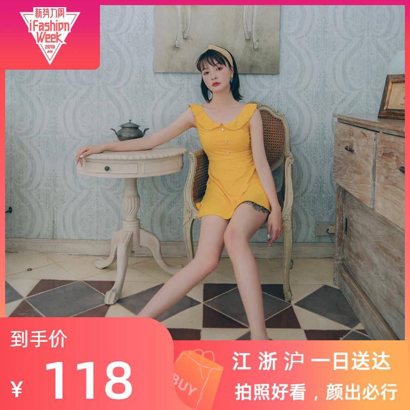 韩国ins风OMOM原创泳衣女时尚连体温泉遮肚显瘦可爱沙滩裙仙女范