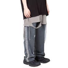 【Raucohouse】韩国复古拼接侧线刺绣青灰宽松男女 ins直筒西装裤