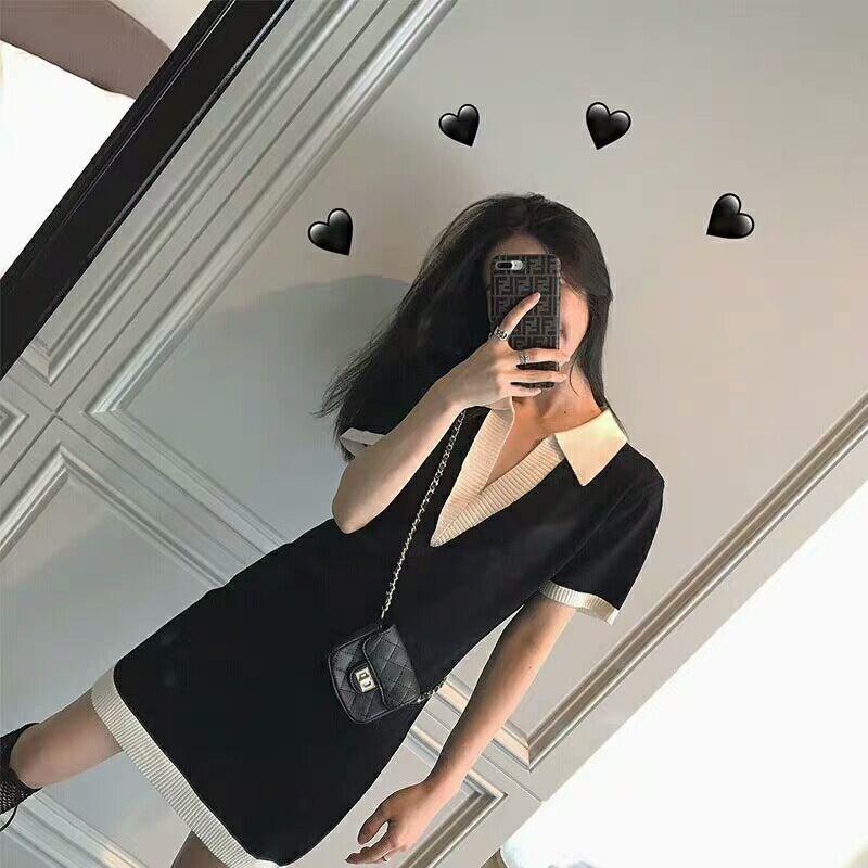 MIUSY 2019新款法式少女山本风黑白短袖polo衫连衣裙气质时髦裙子