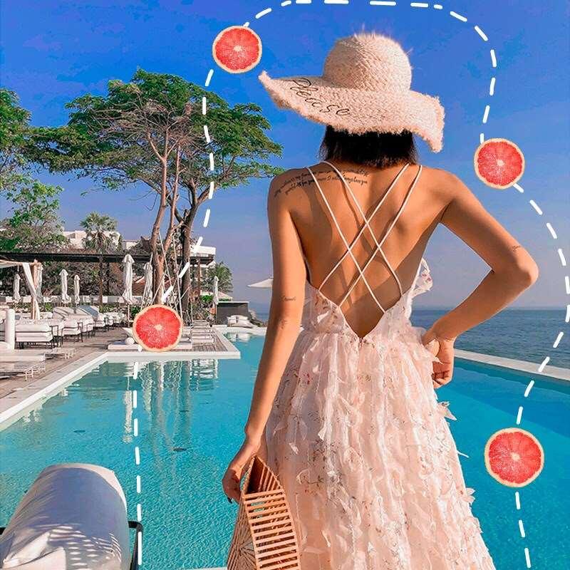 2019沙滩裙海边度假性感吊带长裙连衣裙很仙的露背裙子超仙女夏款