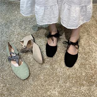 风蝴蝶结粗跟学生夏季新款网红单鞋