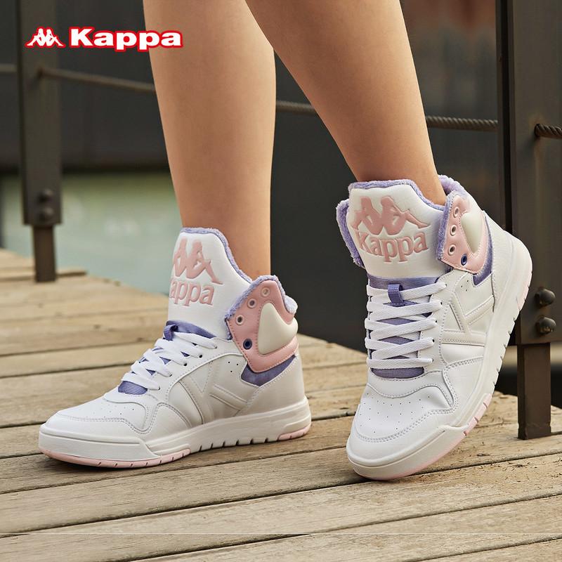 KAPPA卡帕女休閑板鞋運動鞋小白鞋高幫加絨冬季|K0765CC12