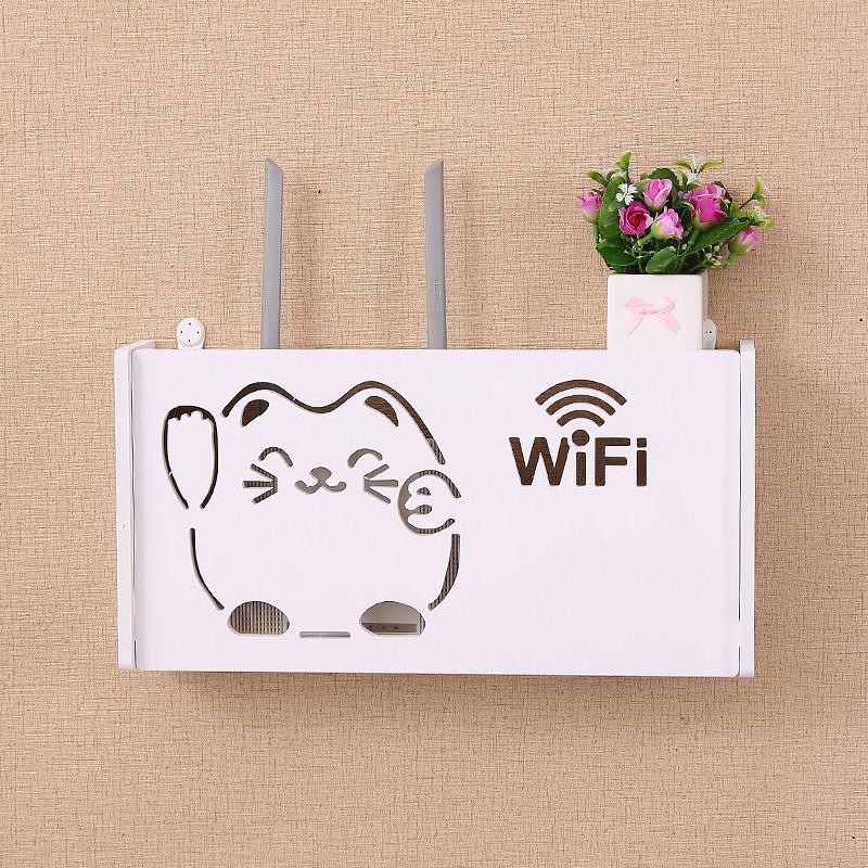 网络架子猫和机顶盒放线式墙宽带的路由器壁挂电视收纳架路油器