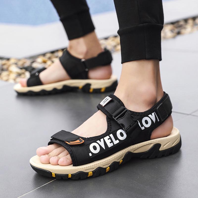 特大码45男士凉鞋ins潮流学生运动夏季外穿46码加肥休闲沙滩鞋子