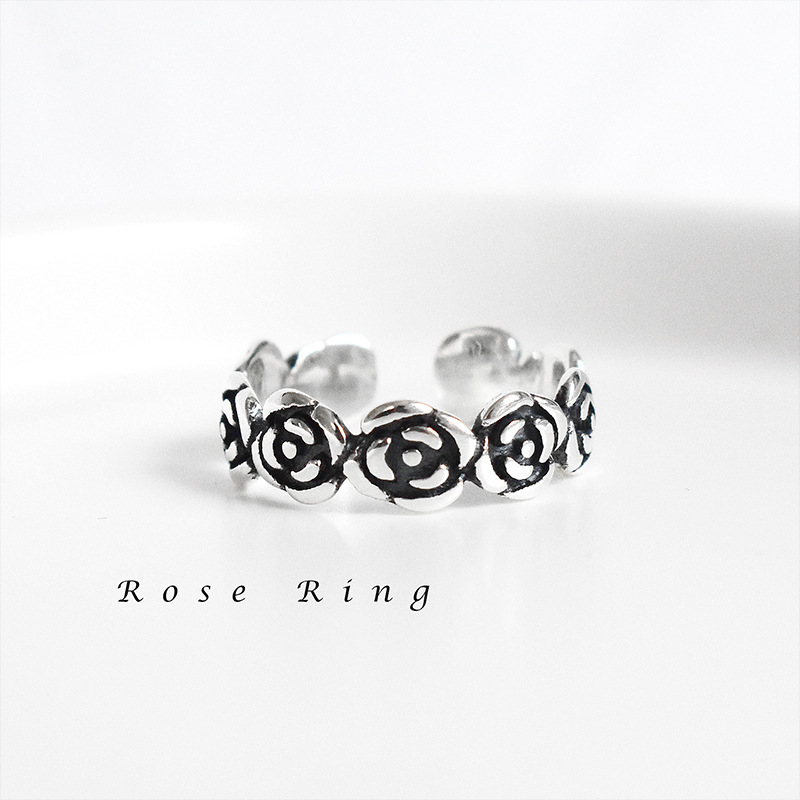 s925纯银复古做旧玫瑰花指环尾戒韩版chic个性气质女戒指尾戒饰品