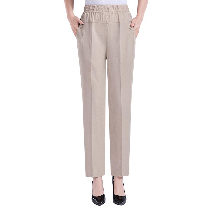 妈妈夏天裤子薄款冰丝中老年人夏季休闲九分裤宽松高腰松紧腰女裤