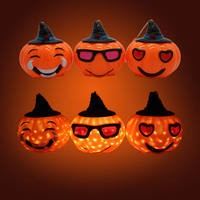Halloween pumpkin lights children's portable luminous lanterns ghosts lanterns bat decorative props candy jars kindergarten