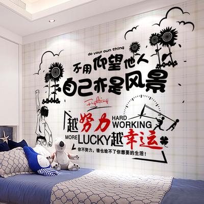 宿舍貼紙裝飾小圖案臥室布置勵志墻貼壁紙自粘墻紙墻壁貼畫海報紙