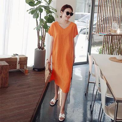 韩国代购东大门夏季休闲短袖连衣裙2018新款后背系带亚麻宽松长裙