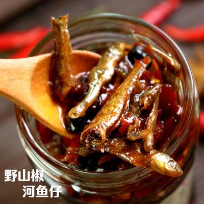 湖南平江特產農家自制香椒醬野山椒河魚仔豆鼓超辣開胃下飯菜280g